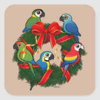 Birdorable Macaws Christmas Wreath Square Sticker
