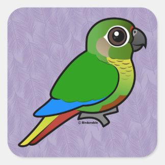 Birdorable Marrón-hinchó el Parakeet Pegatina Cuadrada