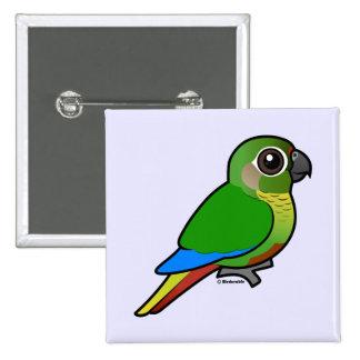 Birdorable Marrón-hinchó el Parakeet Pin Cuadrado