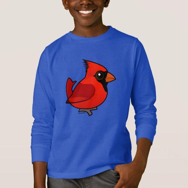 Male Northern Cardinal Kids' Basic Long Sleeve T-Shirt