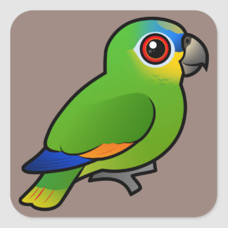 Birdorable Orange-winged Amazon Square Sticker