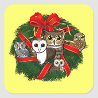 Birdorable Owls Christmas Wreath Square Sticker