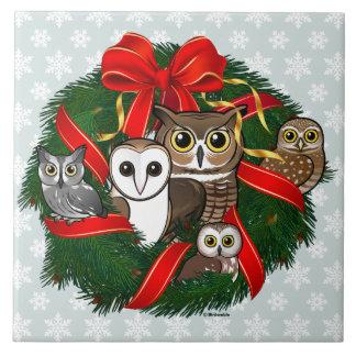 Birdorable Owls Christmas Wreath Tile