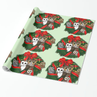 Birdorable Owls Christmas Wreath Gift Wrapping Paper