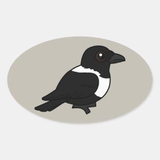 Birdorable Pied Crow Oval Sticker