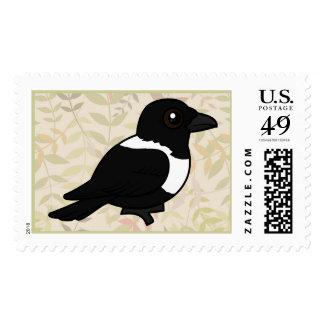 Birdorable Pied Crow Postage Stamp