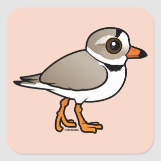 Birdorable Piping Plover Square Sticker