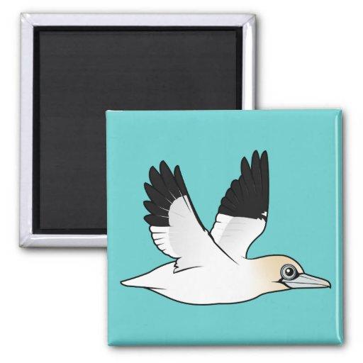 Birdorable que vuela Gannet septentrional Imán Cuadrado