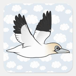 Birdorable que vuela Gannet septentrional Calcomanías Cuadradass