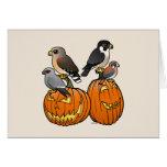 Birdorable Raptors on Pumpkins Cards