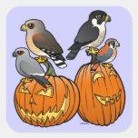 Birdorable Raptors on Pumpkins Square Sticker