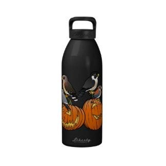 Birdorable Raptors on Pumpkins Reusable Water Bottle