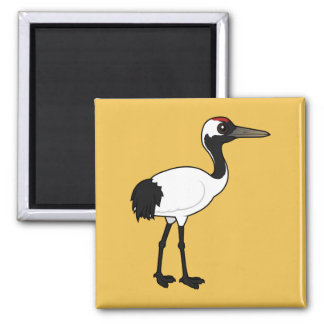 Birdorable Red-crowned Crane 2 Inch Square Magnet