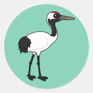 Birdorable Red-crowned Crane Classic Round Sticker