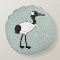 Birdorable Red-crowned Crane Round Pillow