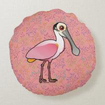 Birdorable Roseate Spoonbill Round Pillow