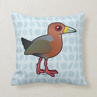 Birdorable Rufous-necked Wood-Rail Throw Pillow