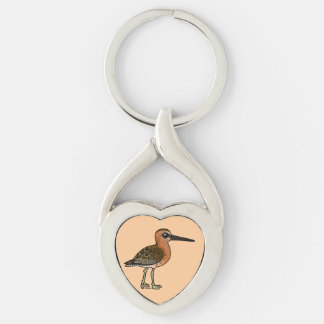 Birdorable Short-billed Dowitcher Silver-Colored Heart-Shaped Metal Keychain