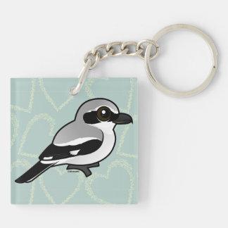 Birdorable Shrike septentrional Llavero Cuadrado Acrílico A Doble Cara