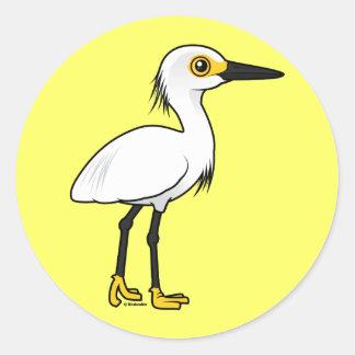 Birdorable Snowy Egret Classic Round Sticker