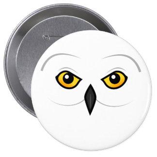 Birdorable Snowy Owl Face Pinback Button