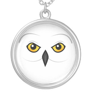 Birdorable Snowy Owl Face Silver Plated Necklace