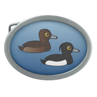 Birdorable Tufted Duck pair Oval Belt Buckles