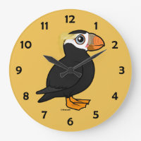 Tufted Puffin Large Round Wall Clock