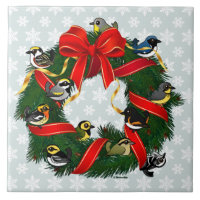 Birdorable Warblers Christmas Wreath Large Tile (6