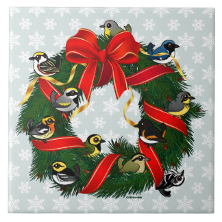 Birdorable Warblers Christmas Wreath Ceramic Tile