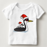 Christmas Western Grebe Santa Baby Fine Jersey T-Shirt