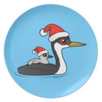 Christmas Western Grebe Santa Plate