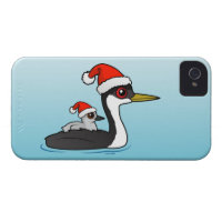 Christmas Western Grebe Santa Case-Mate iPhone 4 Barely There Universal Case
