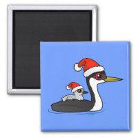 Christmas Western Grebe Santa Square Magnet