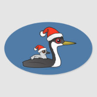 Christmas Western Grebe Santa Oval Sticker