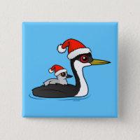 Christmas Western Grebe Santa Square Button