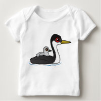 Western Grebe with chick Baby Fine Jersey T-Shirt
