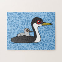 Western Grebe with chick 10x14 Photo Puzzle
