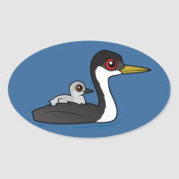 Western Grebe with chick Oval Sticker