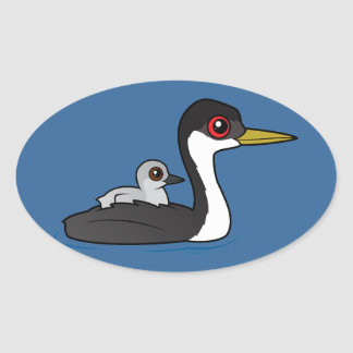 Birdorable Western Grebe with baby Oval Sticker