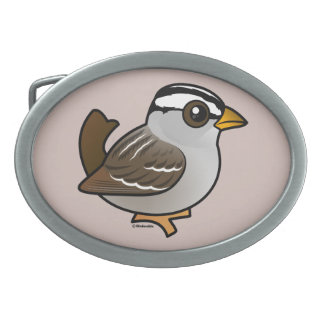 Birdorable White-crowned Sparrow Oval Belt Buckle