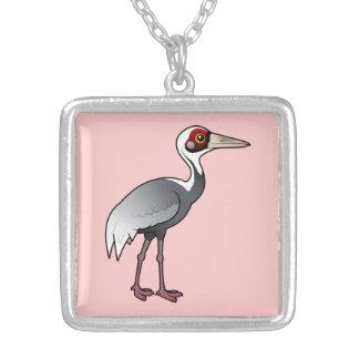 Birdorable White-naped Crane Square Pendant Necklace