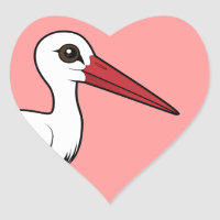 Birdorable White Stork Heart Sticker