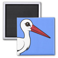Birdorable White Stork Square Magnet