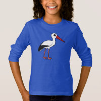 Birdorable White Stork Girls' Basic Long Sleeve T-Shirt