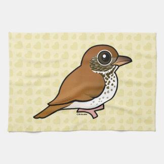 Birdorable Wood Thrush Kitchen Towel