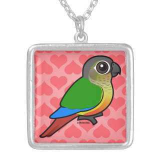 Birdorable Yellow-sided Conure Square Pendant Necklace