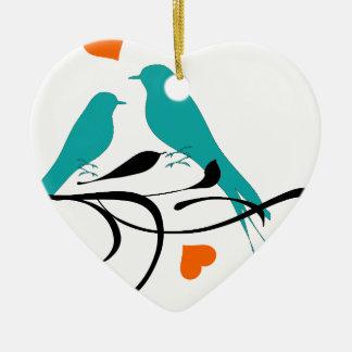 birds-308 Double-Sided heart ceramic christmas ornament
