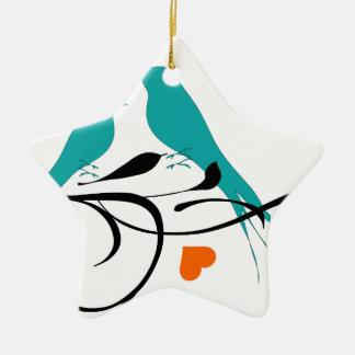 birds-308 Double-Sided star ceramic christmas ornament