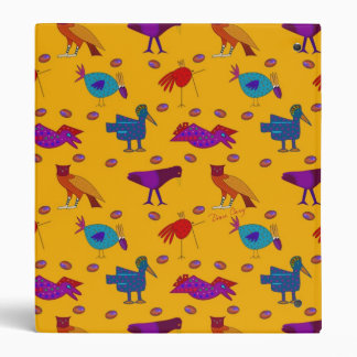 Birds - Abstract Purple Hawks & Blue Chickens 3 Ring Binders